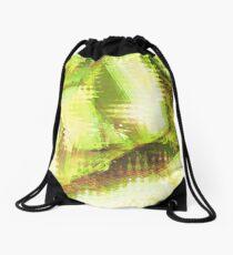 Fragmented Green Abstract Artwork Drawstring Bag