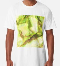 Fragmented Green Abstract Artwork Long T-Shirt