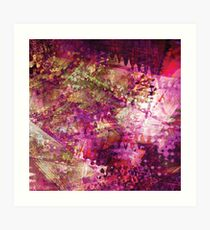 Fragmented Purple Red Abstract Artwork Art Print