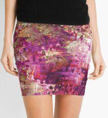Fragmented Purple Red Abstract Artwork Mini Skirt