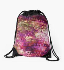 Fragmented Purple Red Abstract Artwork Drawstring Bag