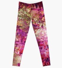 Fragmented Purple Red Abstract Artwork Leggings