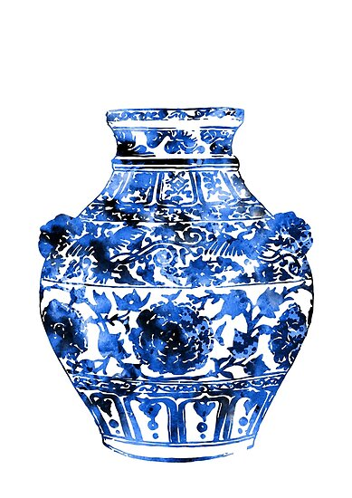 ginger jar blue and white china vase ginger jar ming vase by rosaliartbook