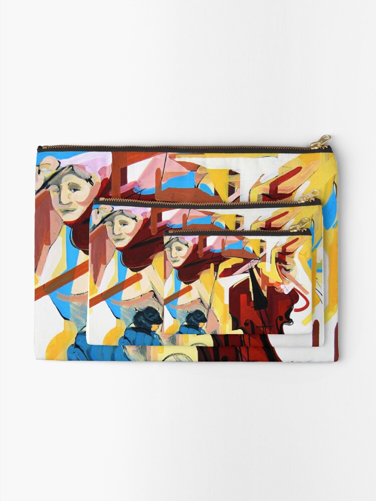 Alternate view of Expressive Cello People Painting Zipper Pouch