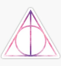 HP Hallows - pink watercolors texture - wand, cloak, stone Sticker