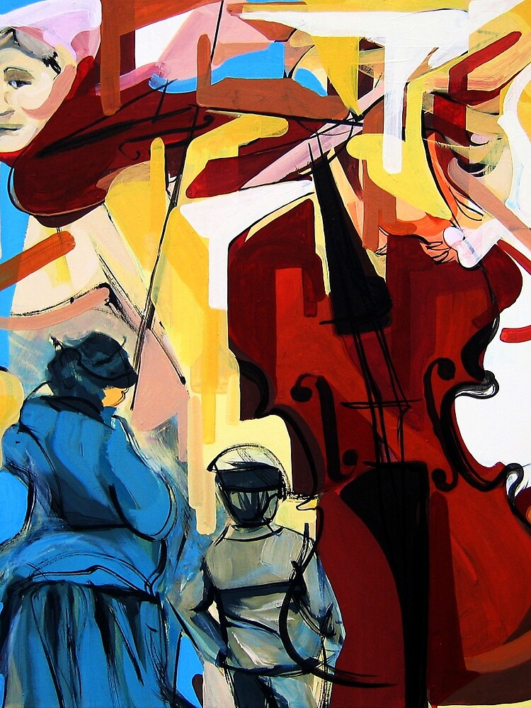 Expressive Cello People Painting by CatarinaGarcia
