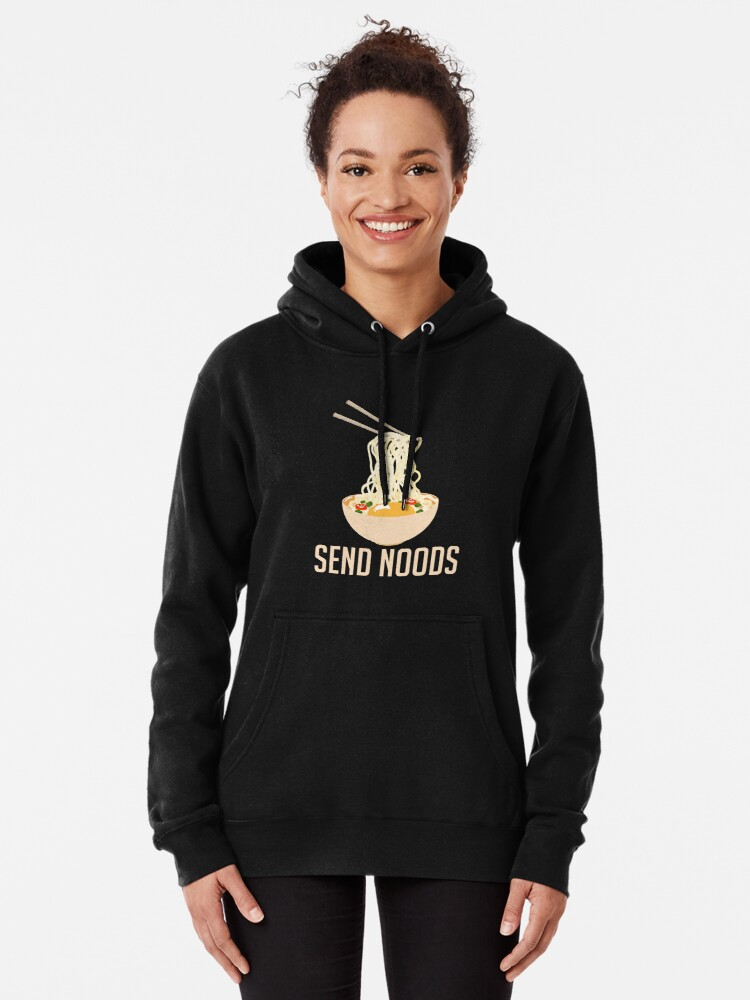 Alternate view of Send Noods - Funny Ramen Nudes Quibble Pullover Hoodie