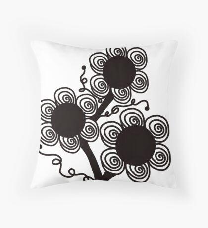 Black Flower Throw Pillow