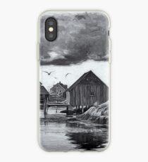 Peggys Cove in Black & White iPhone Case