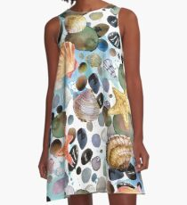 watercolor seashells and sea stones hand drawn seamless pattern. seashore background. A-Line Dress