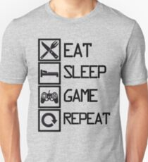 Camiseta unisex Eat Sleep Game Repeat (Blanco y negro)