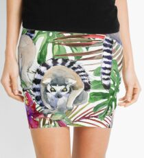 watercolor tropical floral seamless pattern. hand-drawn wild nature illustration	 Mini Skirt