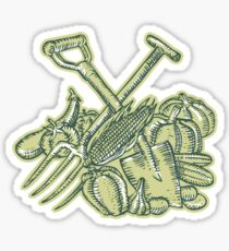 Spade Pitchfork Crop Harvest Etching Sticker
