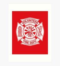 Volunteer Fire Department Firefighter Maltese Cross Design Art Print