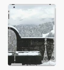 A snowy scene over the Julian Alp mountains and town of Bled, Slovenia iPad Case/Skin
