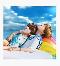 Just bros being bros on a rainbow unicorn float Photographic Print