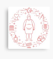 Fat woman, medical devices, tools and medicines. Canvas Print