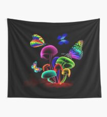 WORLD GLOWING MUSHROOMS Wall Tapestry