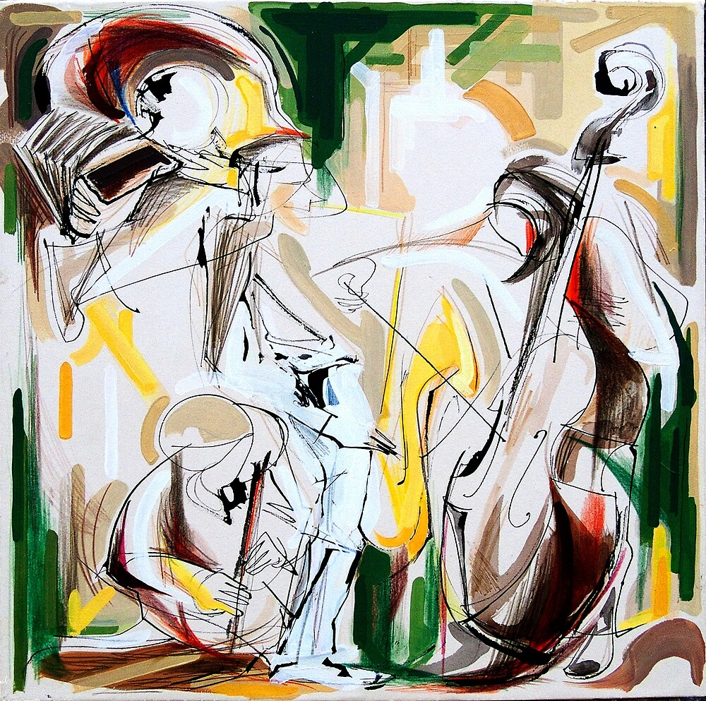 Expressive Musicians Playing Cello Flute Accordion Saxophone Drawing by CatarinaGarcia