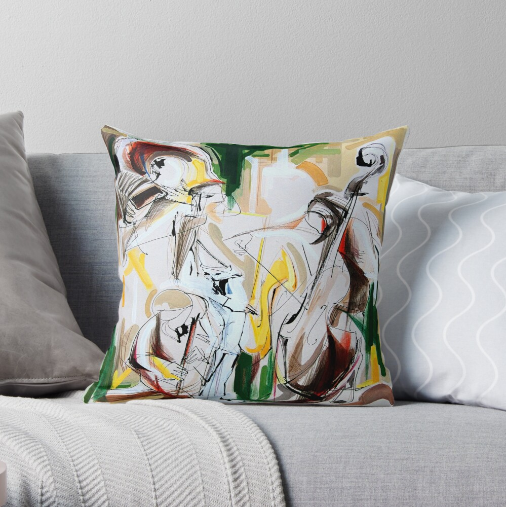 Expressive Musicians Playing Cello Flute Accordion Saxophone Drawing Throw Pillow