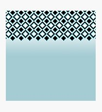 Baby Blue with Black Geometric Ornate Squares Photographic Print