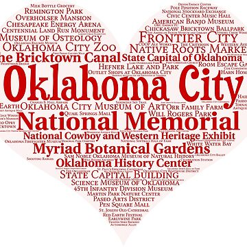 Heart of Oklahoma City Heart Word Cloud Products by Mel747
