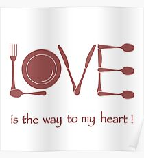 Inscription LOVE from cutlery. Poster