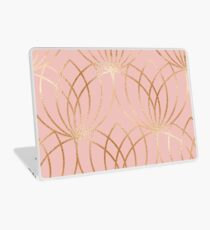 Rose gold millennial pink blooms Laptop Skin