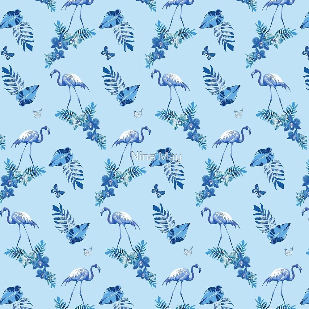 Aqua Flamingo Toille by Nina May