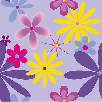 Abstract Flowers Bright 2 on lilac by claracooper