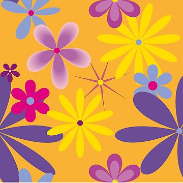 Abstract Flowers Bright 2 on Orange by claracooper