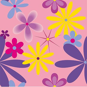 Abstract Flowers Bright 2 on Pink by claracooper