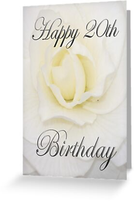 White Flower Happy 20th Birthday