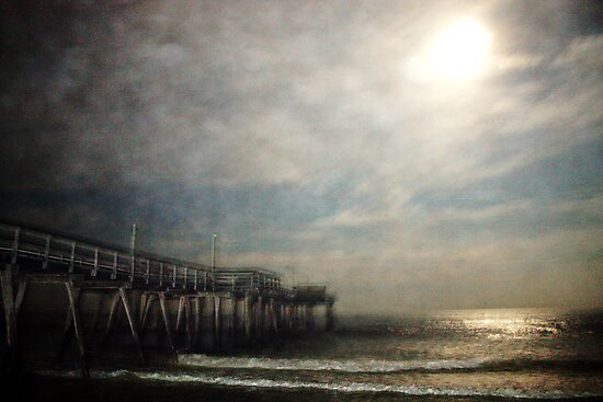 Full Moon Over Avalon Pier by Amy E. McCormick
