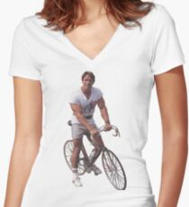 Arnold on a Bike Women's Fitted V-Neck T-Shirt