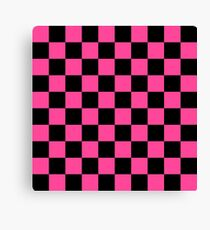 Black and Pink Checkerboard Pattern Canvas Print
