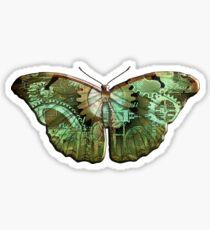 Steampunk Butterfly - Green Sticker