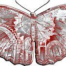 Steampunk Butterfly - Silver and Scarlet by RetroArtFactory