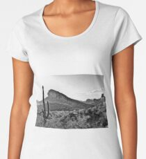 Cactus In The Sun In Black And White Women's Premium T-Shirt