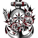 Compass & Anchor for dad  by KrissyTattoos03