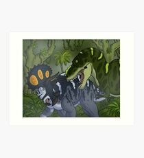Tyrannosaurus gegen Triceratops Kunstdruck