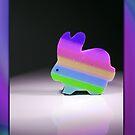 Rainbow Bunny Card by Johanne Brunet