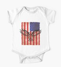 American US Flag Eagle 4th Of July Freedom Eagle T-Shirt One Piece - Short Sleeve
