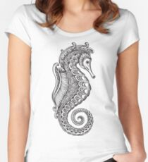 Seahorse Zentangle Design Women's Fitted Scoop T-Shirt