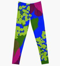 Portland Flora and Fauna in Cerulean, Burgundy and Spring Green by Jessica Poundstone Leggings