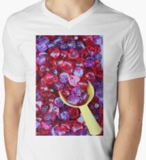 red and purple sweet gummy closeup Men's V-Neck T-Shirt