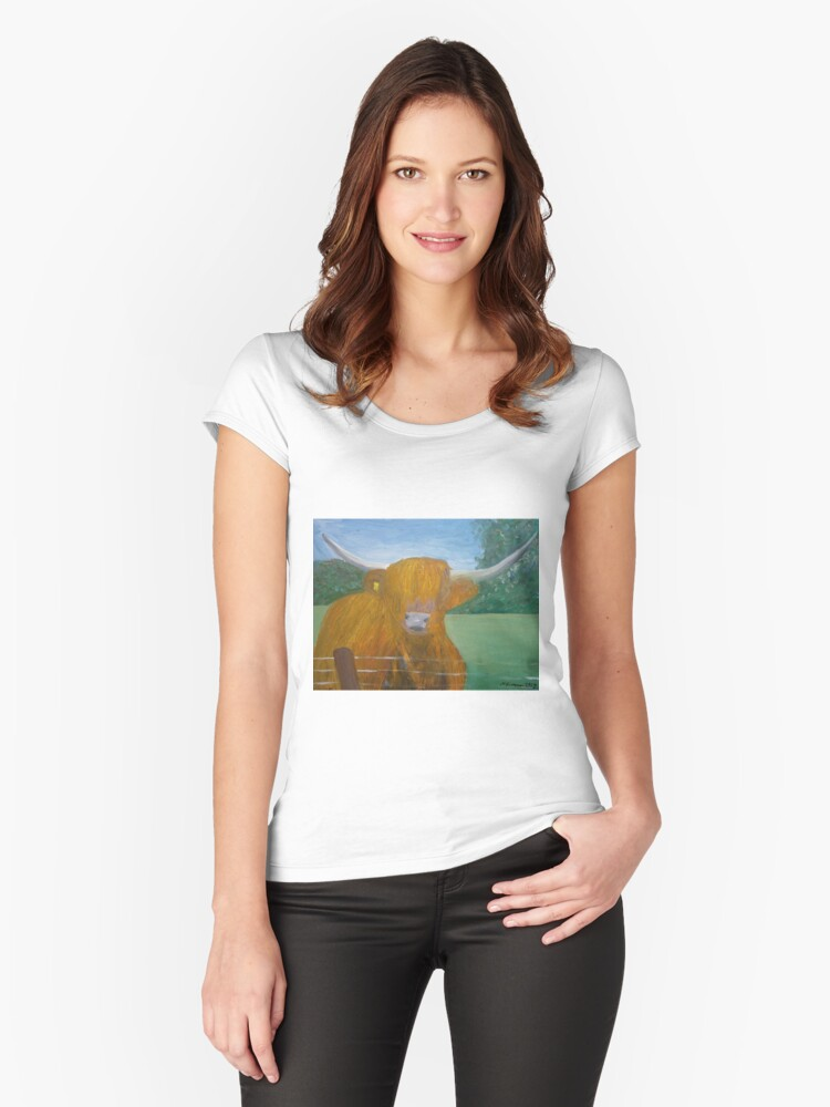 Highland Coo Women's Fitted Scoop T-Shirt Front