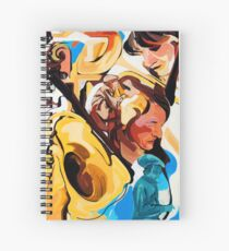 Playing Saxophone and Cello Abstract Expressive Painting Spiral Notebook