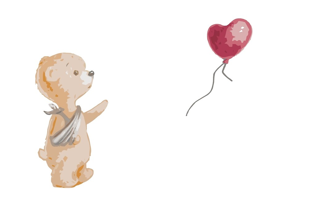 Teddy Bear With Red Balloon For Sickkids By Pigment Redbubble