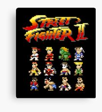 Street Fighter 2 Characters Pixel Art Canvas Print